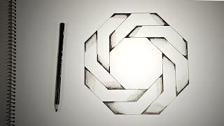 getlinkyoutube.com-Optical Illusions - How To Draw Twisted Octagon