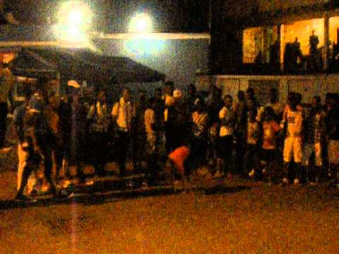 Jamaica  Ocho Ríos  People dancing Break Dance in the street with cars  2014