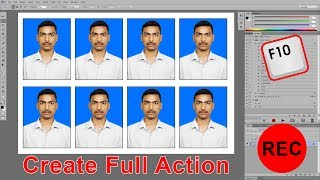 One click passport size photo in photoshop | Create shortcut key using Action | in Telugu