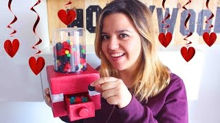 getlinkyoutube.com-Functional CARDBOARD Candy Machine or Gumball Machine !! Valentine´s Day Gift Idea !!