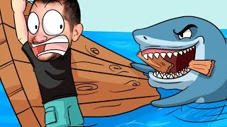 getlinkyoutube.com-Fomos comidos por um tubarão! Raft #1