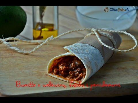 Buritto z wołowiną, fasolą i pomidorami
