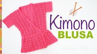 getlinkyoutube.com-Blusa modelo kimono tejido en dos agujas, paso a paso!