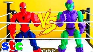 getlinkyoutube.com-Super Hero Mashers Spiderman vs Duende Verde