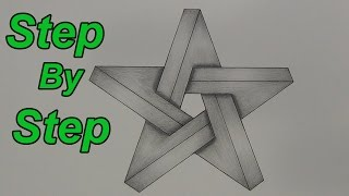 getlinkyoutube.com-How To Draw An Impossible Star Step By Step - 3D Star - Impossible Shapes