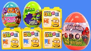 getlinkyoutube.com-NEW Surprize Cubes Despicable Me Qube Spiderman Teenage Mutant Ninja Turtles Surprise Eggs DCTC Toys