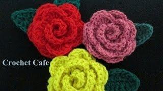 getlinkyoutube.com-كروشيه وردة مجسمة | كروشيه كافيه | Crochet Cafe