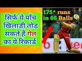 ONLY THESE 5 PLAYERS CAN BREAK THE RECORD OF GAYLE 175* RUNS IN 66 BALLS
