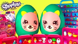 getlinkyoutube.com-SHOPKINS Season 4 Earring Twins Giant Play Doh Surprise Eggs! Over 30 New Shopkins Blind Bag Opening