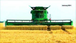 getlinkyoutube.com-John Deere Mähdrescher S685i mit Raupe, 640D 12,34 m Schneidwerk, biggest combine - wheat harvest