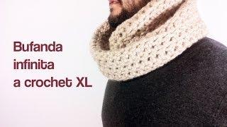 getlinkyoutube.com-Cómo tejer una bufanda infinita a ganchillo / crochet