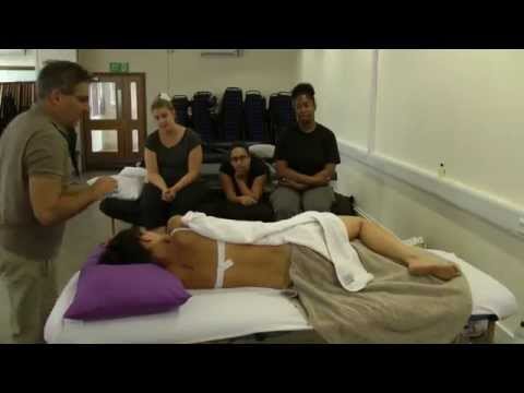 Side lying massage position: Spine and lower limbs