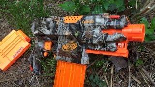 getlinkyoutube.com-Drac's Woodland Camo Semi-Automatic Nerf Gun Mod