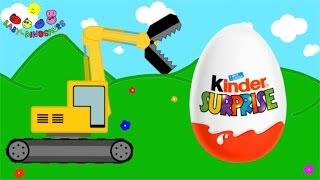 getlinkyoutube.com-Surprise Eggs and Excavator | Dinosaurs for Children