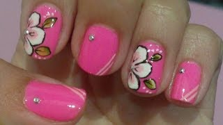 getlinkyoutube.com-Unhas Decoradas Flor carga Dupla Rosa Manual Bela e Simples Nail Art