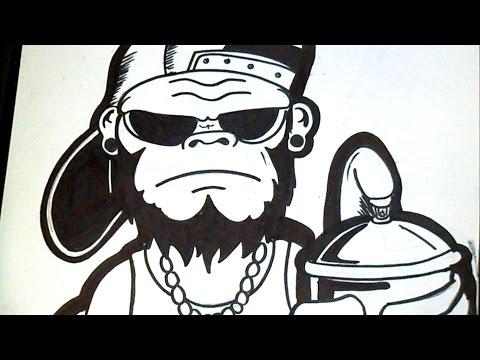 como desenhar um gorila Grafite