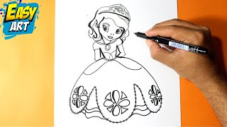 Como dibujar la princesita Sofia l How to draw the princess sofia l como dibujar una princesa