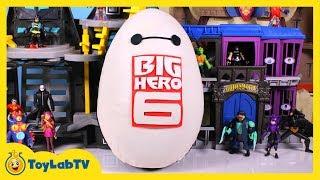 getlinkyoutube.com-HUGE Baymax Play Doh Surprise Egg with Big Hero 6 SpongeBob & Spiderman Surprise Toys