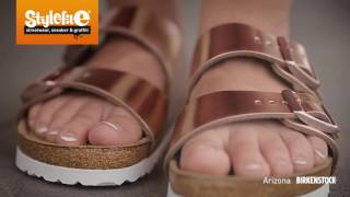 getlinkyoutube.com-Birkenstock Arizona Women Sandals metallic copper (On-Feet) @Stylefile