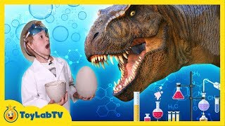 getlinkyoutube.com-GIANT Life-Size Dinosaur Eggs Hatch in the Jurassic Park & T-Rex Escapes in Fun Kids Video w/ Toys
