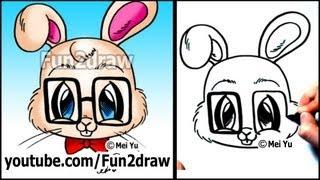 getlinkyoutube.com-Funny Animals - Nerd Rabbit - How to Draw Easy Cartoons