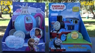 getlinkyoutube.com-Thomas & Friends and Disney Frozen Bubble Maker Machine Unboxing and Playtime