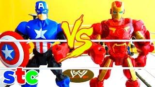 getlinkyoutube.com-Super Hero Mashers Iron Man vs Capitan America