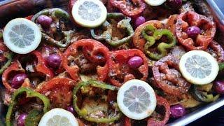getlinkyoutube.com-poisson au four aux légumes facile -الحوت مشرمل في الفرن مع الخضر سهل و لذييذ جدا