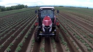 getlinkyoutube.com-KEN OKUYAMA DESIGN ヤンマープレミアムトラクター YT5113 芋の培土作業 空撮   (Hokkaido, Japan)