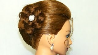 getlinkyoutube.com-Hairstyle for medium long hair. Updo with braided flower