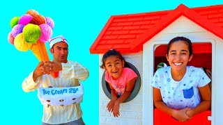 Esma and Asya Pretend play with Playhouse ice cream seller for kids video