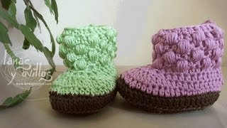 getlinkyoutube.com-Tutorial Botas Bebe Crochet o Ganchillo Baby booties (english sub)