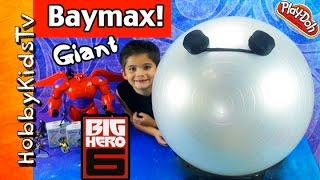 getlinkyoutube.com-Mega GIANT Play-Doh BAYMAX Surprise Egg Head! Big Hero 6, Disney Cars, HobbyKidsTV
