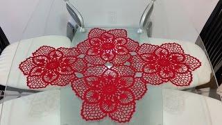 getlinkyoutube.com-🌺flor para Camino de mesa en crochet(#5)
