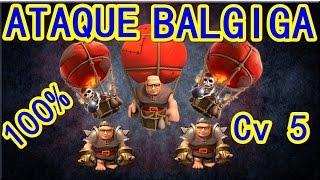 getlinkyoutube.com-CLASH OF CLANS - Cv5  aprenda a dar 100% com baloes e gigantes.