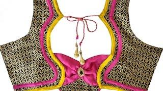 getlinkyoutube.com-Designer Bridal Back Neck Blouse Pattern - 5 (DIY)