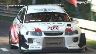 getlinkyoutube.com-Mitsubishi Lancer EVO RS Turbo & Supercharger 800 HP, Martini BMW, full Onboard at Swiss Hillclimb