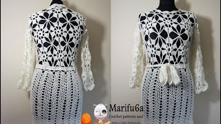 getlinkyoutube.com-How to crochet white dress tunic pattern by marifu6a