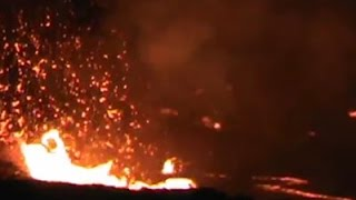 Lava lake on Hawaii's volcano overflows