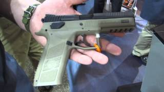 getlinkyoutube.com-CZ P-09 full-size polymer 9mm semi-auto pistol at SHOT Show 2014