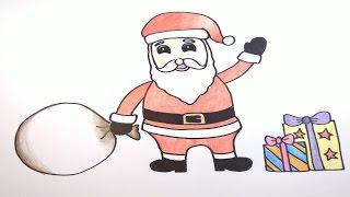ซานตาครอส สอนวาดรูปการ์ตูนน่ารักง่ายๆระบายสี How to Draw Santa Claus Cartoon Easy for Kids