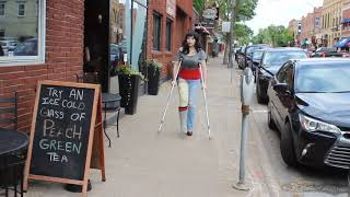 Strolling through Hudson, WI with a broken leg