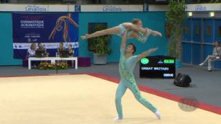 getlinkyoutube.com-GREAT BRITAIN Mixed Pairs - Balance Qualifications  -- 2014 Acrobatic Worlds, Levallois-Paris (FRA)