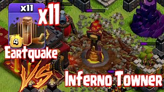 getlinkyoutube.com-Clash Of Clans - 11 EARTHQUAKE SPELLS vs. INFERNO TOWER ( Overpowered!?!?)
