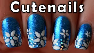 getlinkyoutube.com-Short nails tutorial : cute flowers nail art design