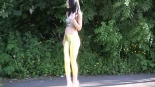 getlinkyoutube.com-Carmel Outdoors in Gold Wetlook Spandex Leggings