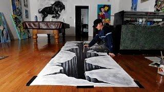 getlinkyoutube.com-Trick Art on Canvas - Painting a Huge 3D Hole