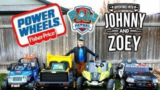 getlinkyoutube.com-POWER WHEELS Race with Paw Patrol Costume, Power Wheels Dune Racer, Police Car, Jeep Wranger