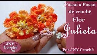 Passo a Passo de crochê Flor Julieta por JNY Crochê