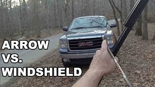 getlinkyoutube.com-Arrow vs. Windshield! Survival Bow and Vertical Crossbow